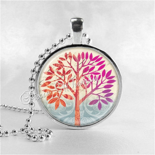 TREE OF LIFE Necklace, Tree Necklace, Colorful Tree, Tree Pendant, Tree Jewelry, Glass Bezel Photo Art Necklace, Tree of Life