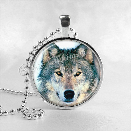 WOLF Pendant Necklace, Wolf Jewelry, Wolf Charm, Glass Photo Art Pendant Charm, Animal Jewelry, Wolves