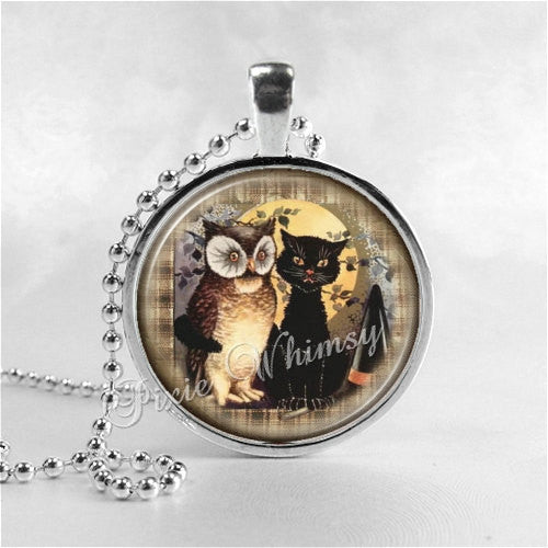 BLACK CAT and OWL Necklace, Vintage Halloween, Black Cat, Cat Pendant, Cat Jewelry, Glass Photo Art Necklace Pendant, Black Cat Jewelry