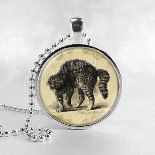 CAT Necklace, Cat Pendant, Hissing Cat, Fright Cat, Scaredy Cat, Halloween Necklace, Cat Jewelry,  Halloween Pendant, Cat Charm, Spooky