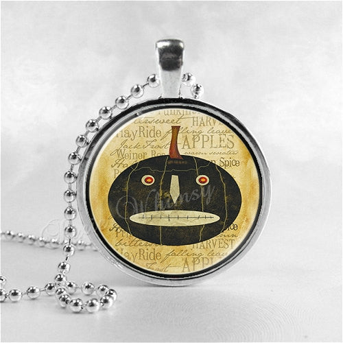 Jack O Lantern Necklace, Pumpkin, Primitive, Prim, Country Style, Halloween Necklace, Halloween Jewelry, Glass Photo Art Necklace Pendant