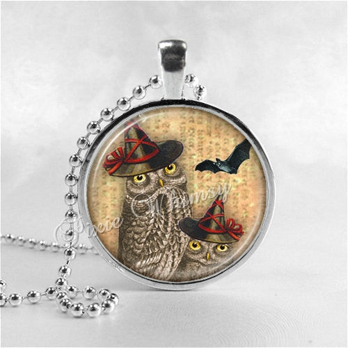 HALLOWEEN OWL WITCH Necklace, Owl Necklace, Owl Jewelry, Witch, Owl In Witch Hat, Glass Photo Art Necklace, Halloween Jewelry
