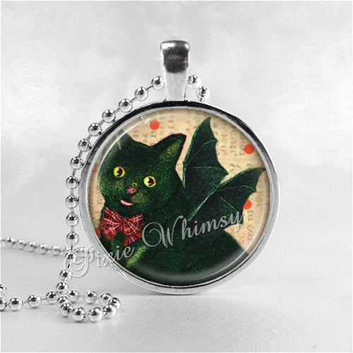 BLACK CAT BAT Necklace, Cat Pendant, Cat Jewelry, Cat Bat Wings, Cat Charm, Glass Photo Art Necklace Pendant, Black Cat Jewelry, Halloween