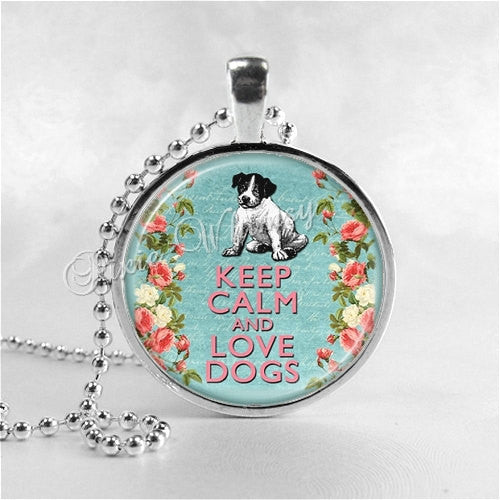 DOG Necklace, Keep Calm and Love Dogs, Photo Pendant Jewelry Charm, Dog Pendant, Dog Rescue, Pet Adoption, Pet Rescue, Adoption