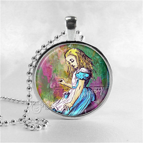 ALICE In WONDERLAND Necklace,Drink Me, Photo Art Glass Necklacle, Alice in Wonderland Jewelry, Alice in Wonderland Pendant