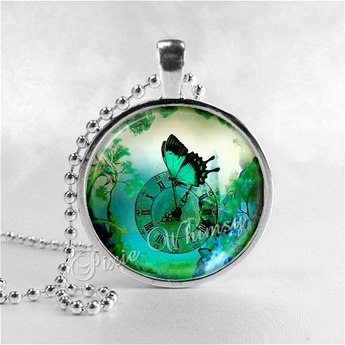 BUTTERFLY Pendant Necklace, Swallowtail Butterfly Steampunk Jewelry, Vintage Antique Clock Insect Entomology Moth Blue Green Aqua Turquoise