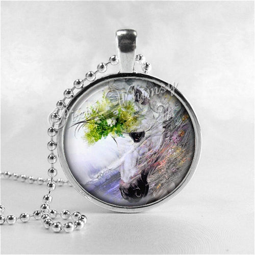 HORSE Necklace, Horse Pendant, Horse Jewelry, Horse Charm, Glass Photo Art Bezel Pendant Necklace, Equestrian, Horse Riding