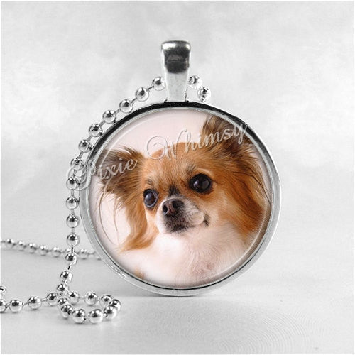 PAPILLION Dog Necklace, Papillion Jewelry, Papillion Pendant, Papillion Charm, Glass Bezel Photo Art Necklace, Dog Breed, Toy Spaniel