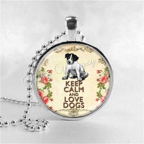 DOG Necklace, Keep Calm and Love Dogs, Photo Pendant Jewelry Charm, Puppy, Dog Pendant, Dog Rescue, Pet Adoption, Pet Rescue, Adoption