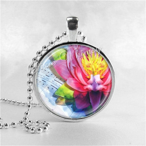 LOTUS FLOWER Necklace, Water Lily, Flower Pendant, Flower Jewelry, Flower Charm, Glass Art Pendant Necklace