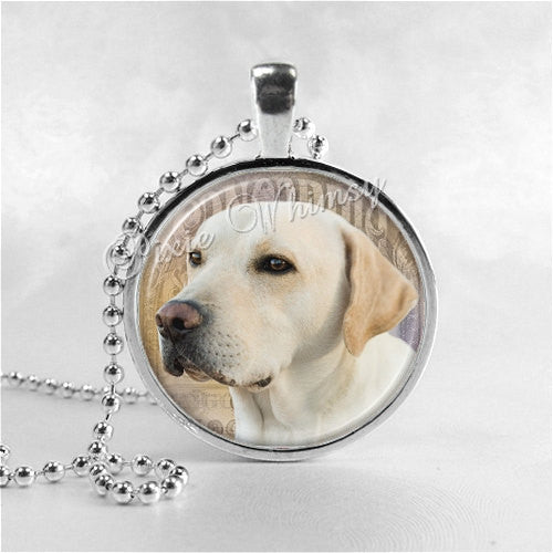 YELLOW LABRADOR RETRIEVER Dog Necklace, Labrador Jewelry, Labrador Pendant, Labrador Charm, Glass Bezel Photo Art Necklace, Dog Breed