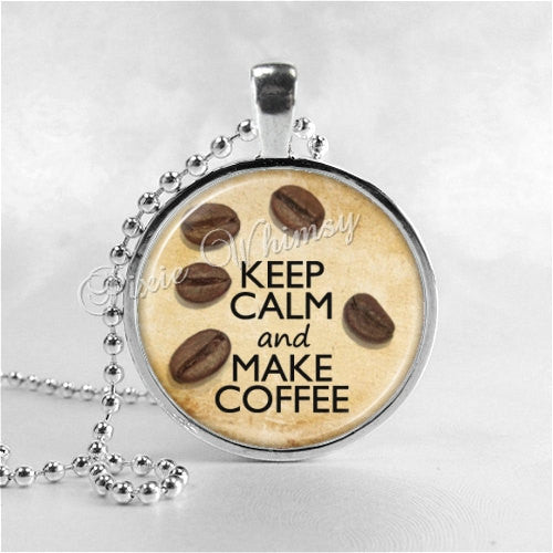 COFFEE LOVERS Necklace, Keep Calm and Make Coffee, Coffee Necklace, Coffee Jewelry, Coffee Beans, Barista, Glass Photo Art Necklace