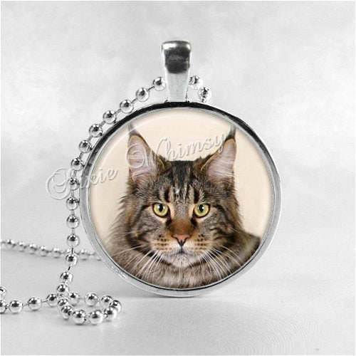 MAINE COON CAT Necklace, Cat Pendant, Cat Jewelry, Cat Charm, Glass Photo Art Necklace Pendant, Kitten, Kitten Necklace, Cat Breed