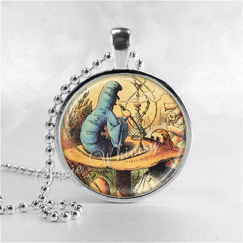 ALICE In WONDERLAND Necklace, Caterpillar and Hookah,  Photo Art Glass Necklacle, Alice in Wonderland Jewelry, Alice in Wonderland Pendant