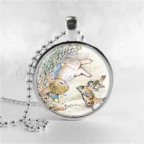 PETER RABBIT Necklace, Rabbit Pendant, Rabbit Jewelry, Rabbit Charm, Glass Photo Art Jewelry