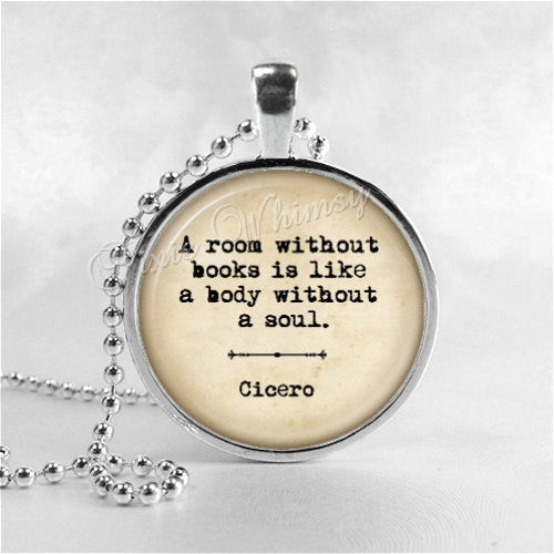 BOOK QUOTE Necklace, A Room Without Books, Book Pendant Jewelry Charm, Read, Book Lover Jewelry, Book Nerd, Librarian, Library, Teacher