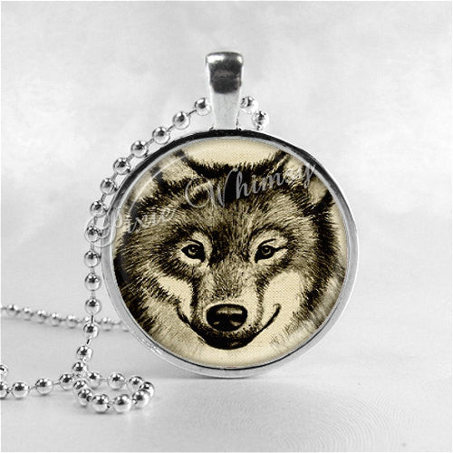 WOLF Necklace, Wolf Pendant, Wolf Jewelry, Wolf Charm, Glass Photo Art Pendant Charm, Animal Jewelry, Wolves