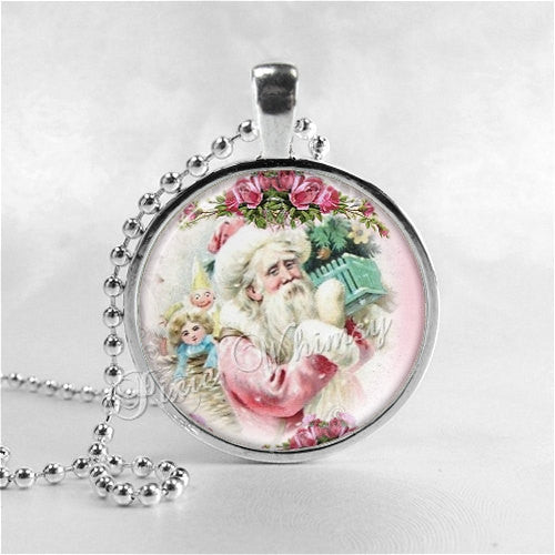 VICTORIAN CHRISTMAS Santa Claus Necklace, Santa Claus, Christmas Necklace, Christmas Jewelry, Vintage Christmas, Pink Shabby Cabbage Roses