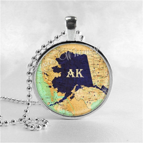ALASKA STATE Necklace, I Love Alaska, Alaska Map Jewelry, Alaska Pendant, Alaska Charm, Glass Photo Art Pendant Necklace