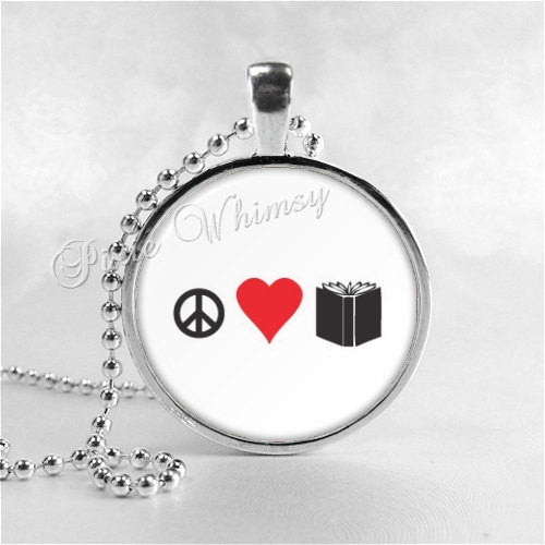 PEACE LOVE BOOKS Necklace, Writer, Author, Reading, Book Necklace, Book Pendant, Read, Book Lover Jewelry, Book Nerd, Librarian, Library