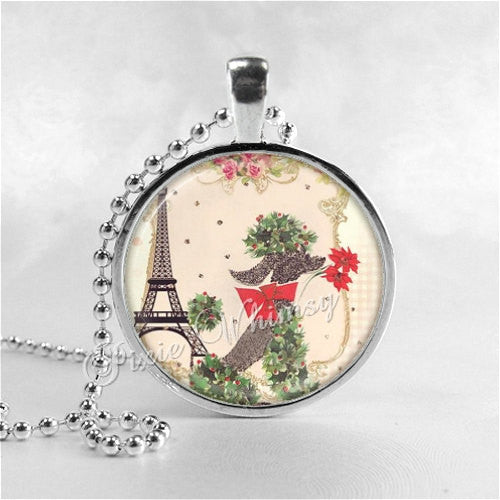 CHRISTMAS POODLE Necklace, French Poodle, Eiffel Tower, Dog Necklace, Vintage Christmas, Dog Pendant, Dog Jewelry, Glass Photo Art Necklace