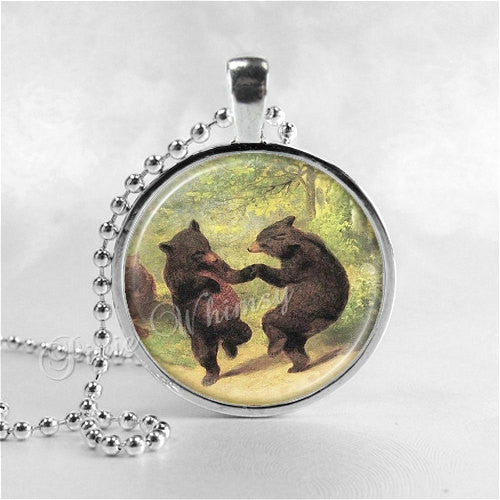 BEAR Necklace, Dancing Bears, Bear Pendant, Bear Jewelry, Bear Charm, Glass Photo Art Pendant Charm, Forest Animal, Grizzly Bear, Brown Bear