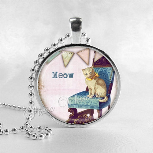 CAT LOVERS Necklace, Meow, Cat Necklace, Cat Pendant, Cat Jewelry, Cat Charm, Glass Photo Art Necklace Pendant, Vintage Cat