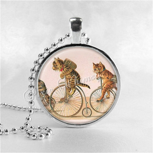 CAT Necklace, Cat Riding Bicycle, Cat Necklace, Cat Jewelry, Cat Pendant, Cat Charm, Bike, Glass Photo Art Necklace