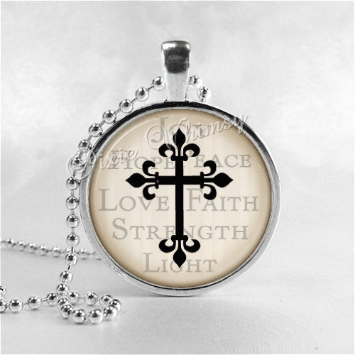 CROSS Necklace, Cross Pendant, Cross Jewelry, Glass Art Pendant Charm, Religious Jewelry, Grunge Cross