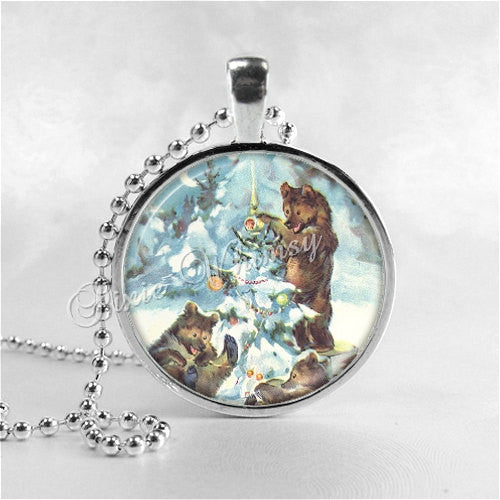CHRISTMAS BEAR Necklace, Christmas Tree, Bear Pendant, Bear Jewelry, Glass Photo Art Pendant Charm, Forest Animal, Grizzly Bear, Brown Bear