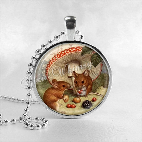 MOUSE Necklace, Mice, Glass Photo Art Necklace, Mouse Jewelry, Mouse Pendant, Toadstool, Mushroom
