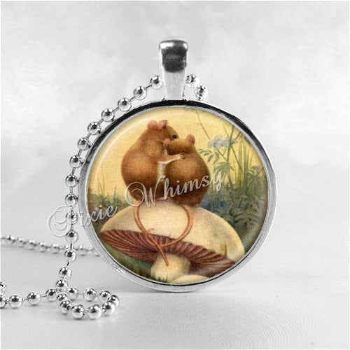 MOUSE Pendant Necklace Jewelry, Mice In Love, Glass Photo Art Necklace, Rodent Jewelry, Toadstool, Mushroom, Woodland Jewelry