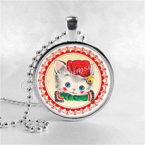 CHRISTMAS CAT Necklace, Kitten Necklace, Cat Pendant, Cat Jewelry, Cat Charm, Glass Photo Art Necklace Pendant, Christmas Jewelry, Ornament