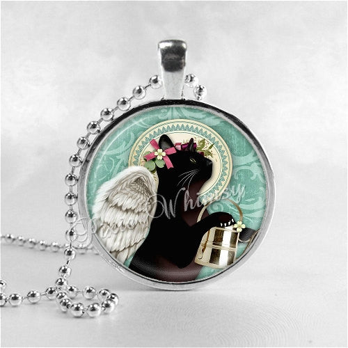 CAT ANGEL Necklace, Cat Pendant, Cat Jewelry, Cat Charm, Glass Photo Art Necklace Pendant, Kitten, Kitten Necklace