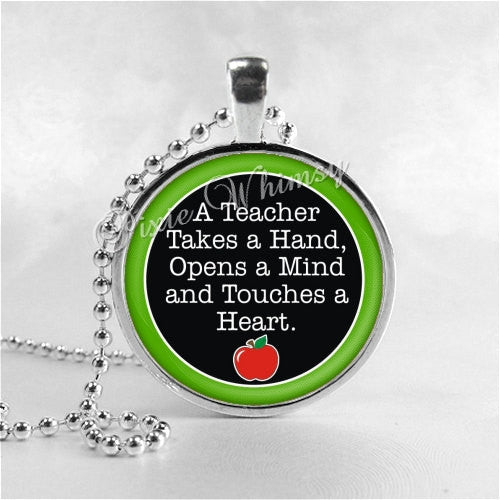 TEACHER Necklace, Teacher Pendant, Teacher Jewelry, Teacher Appreciation, Glass Photo Art Necklace, Teacher Gift,  Education, Teaching