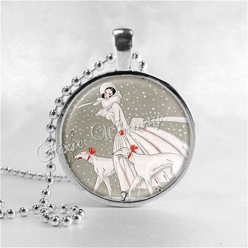 ART DECO CHRISTMAS Necklace, Woman and Borzoi Dog, Christmas Necklace, Christmas Jewelry, Vintage Christmas, Art Deco Necklace