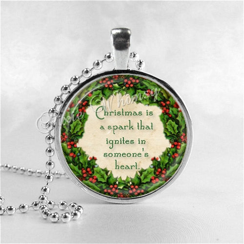 CHRISTMAS QUOTE Necklace, Christmas Necklace, Book Pendant Jewelry, Literary Necklace, Literary Jewelry, Book Quote Jewelry