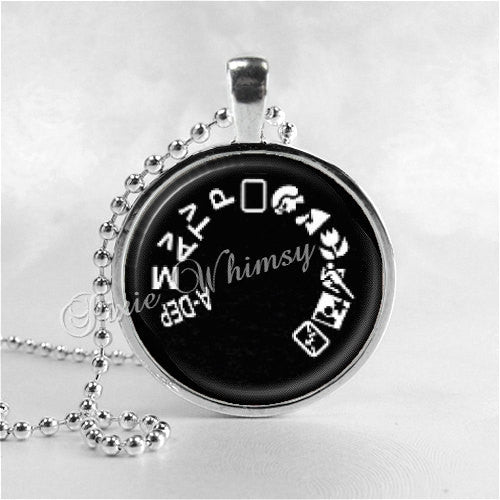CAMERA MODE DIAL Necklace, Camera Jewelry, Photographer Jewelry, Glass Photo Art Necklace, Photography Necklace, Photographer