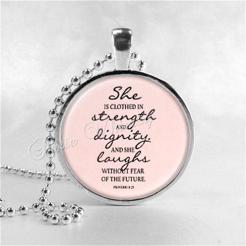 BIBLE VERSE Pendant Necklace, Proverbs 31:25, She Is Clothed In Strength, Christian Jewelry, Religious Quote Jewelry Christian Gift