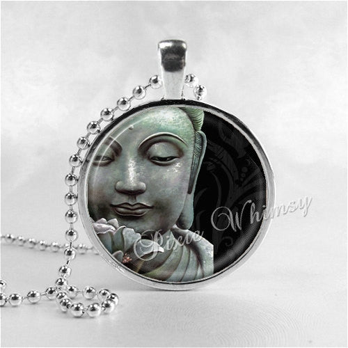 BUDDHA Necklace, Buddha, Buddhism, Buddhist, Religion, Spirituality, Glass Photo Art Necklace