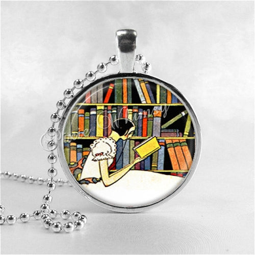 BOOK LOVERS Necklace, Writer, Author, Book, Reading, Book Necklace, Book Pendant, Read, Book Lover Jewelry, Book Nerd, Librarian, Library