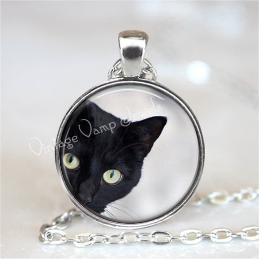 PEEPING TOM CAT Necklace, Peeking Cat, Kitten, Cat Jewelry, Cat Pendant, Cat Charm, Black Cat Necklace, Glass Bezel Art Pendant Necklace