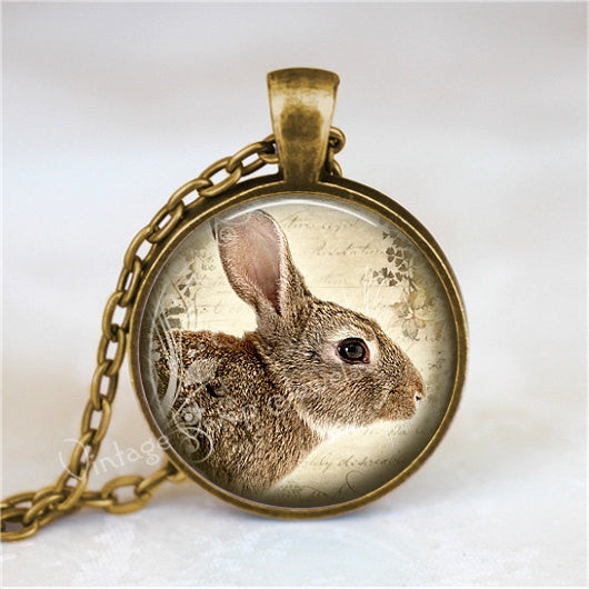RABBIT  Necklace, Bunny Necklace, Rabbit Jewelry, Rabbit Pendant, Rabbit Charm, Glass Bezel Art Pendant Necklace,  Photo Art Glass Necklace