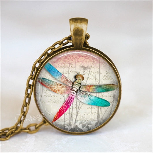 DRAGONFLY Necklace, Dragonfly Jewelry, Dragonfly Pendant, Dragonfly Charm, Glass Photo Art Pendant, Insect Jewelry, Glass Bezel Necklace
