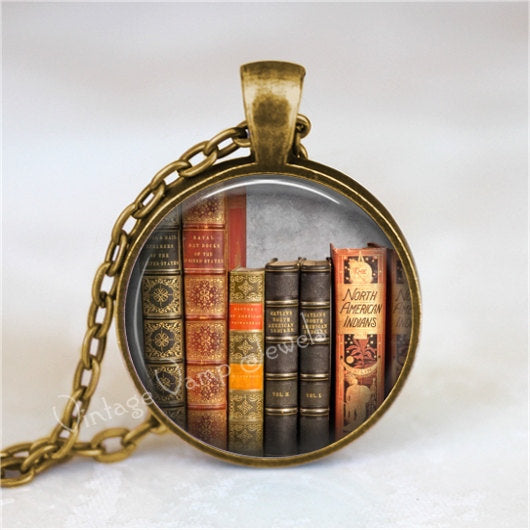 BOOK Necklace Pendant Library Books Photo Art Pendant Jewelry Charm, Read, Book Lover Jewelry, Vintage Antique Books Librarian Library