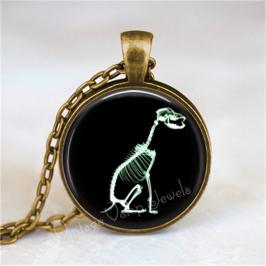 X RAY Pendant Necklace, Gift for Veterinarian, Dog Xray Jewelry, Radiologist Radiology Medical Profession Glass Bezel Art Pendant Necklace