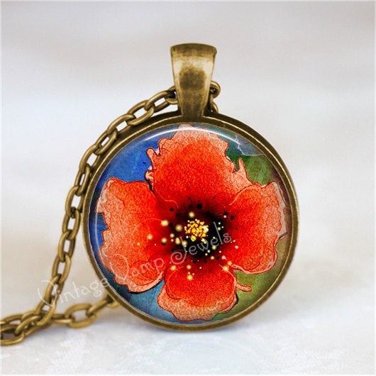 POPPY Pendant Necklace Red Poppies Jewelry Watercolor Flower Floral Art Pendant Glass Bezel Botanical Art. Silver or Antique Bronze Nature