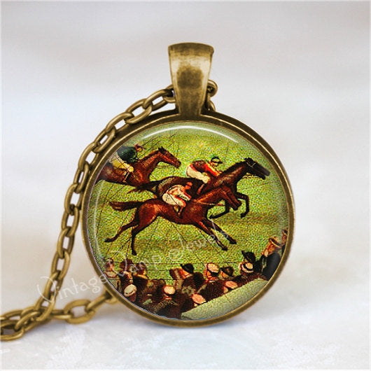 HORSE RACING Pendant Necklace Horse Race Equestrian Jewelry Horse Riding, Glass Photo Art Necklace Pendant