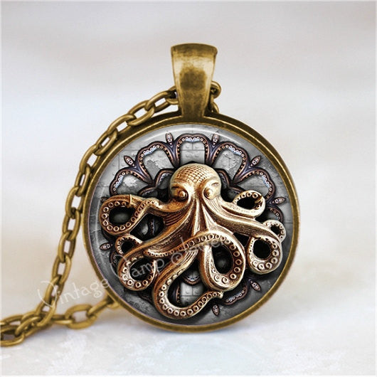 STEAMPUNK OCTOPUS Necklace, Octopus Necklace, Octopus Jewelry, Steampunk Necklace, Glass Photo Art Necklace Pendant, Steampunk Jewelry