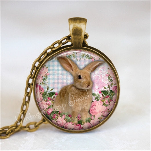 RABBIT Pendant Necklace Easter Bunny Charm Glass Photo Art Pendant Necklace Pink Shabby Roses, Gift for Rabbit Lover